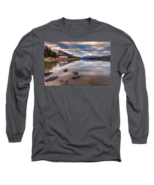 Maligne Lake Boat House Sunrise Long Sleeve T-Shirt by Pierre Leclerc Photography