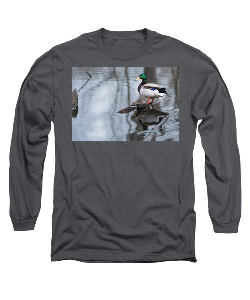 Long Sleeve T-Shirt featuring the photograph Mallard Drake by Edward Peterson