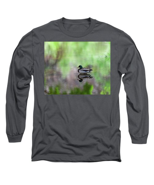 Long Sleeve T-Shirt featuring the photograph Mallard In Reflecting Pool H58 by Mark Myhaver
