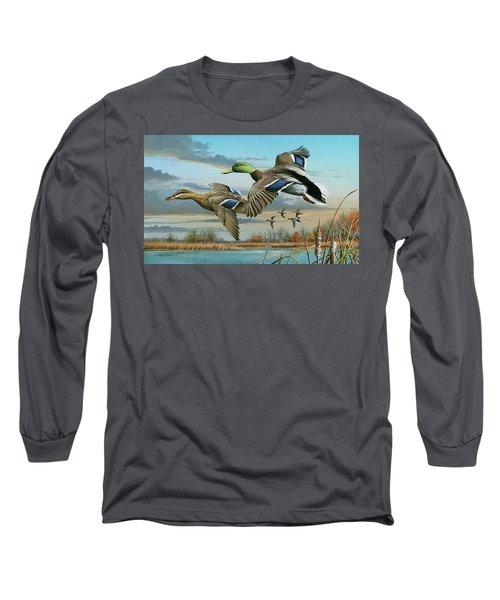 Mallards In Flight Long Sleeve T-Shirt