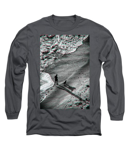 Man And Dog On The Beach Long Sleeve T-Shirt