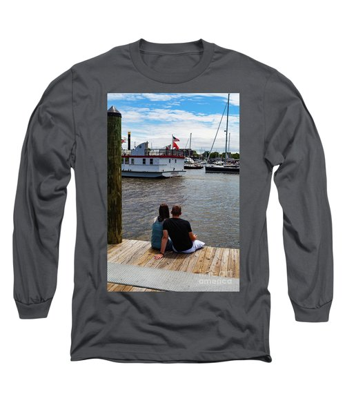 Man And Woman Sitting On Dock Long Sleeve T-Shirt