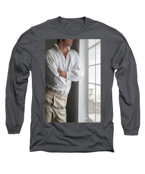 Man In Historical Shirt And Breeches Long Sleeve T-Shirt by Lee Avison