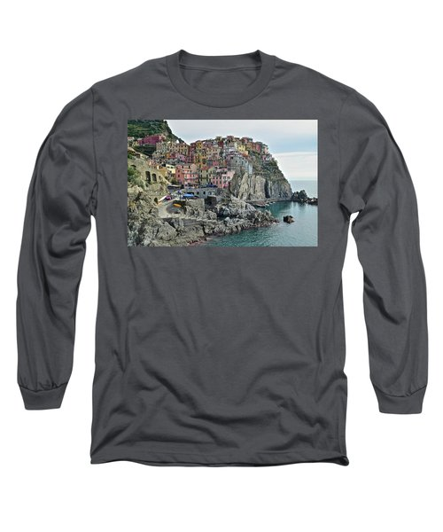 Long Sleeve T-Shirt featuring the photograph Manarola Version Three by Frozen in Time Fine Art Photography