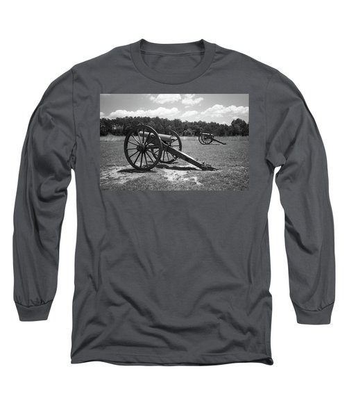 Long Sleeve T-Shirt featuring the photograph Manassas Battlefield 2 Bw by Frank Romeo