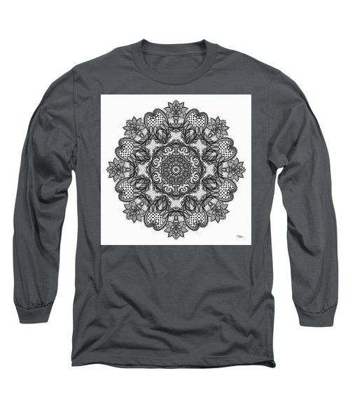 Long Sleeve T-Shirt featuring the digital art Mandala To Color 2 by Mo T