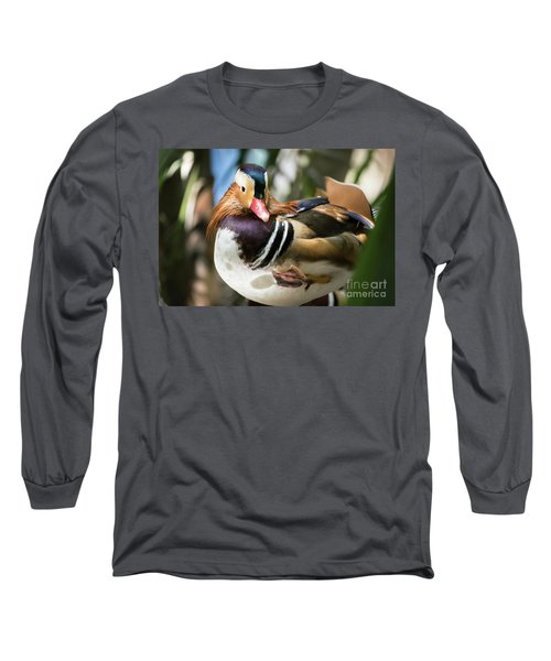 Mandarin Duck Raising One Foot. Long Sleeve T-Shirt