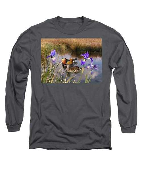 Mandarin Ducks And Wild Iris Long Sleeve T-Shirt