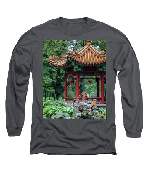 Mandarin Ducks At Pavilion Long Sleeve T-Shirt