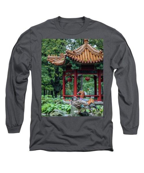 Mandarin Ducks At Pavilion Long Sleeve T-Shirt
