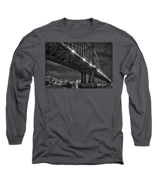 Manhattan Bridge Frames The Brooklyn Bridge Long Sleeve T-Shirt