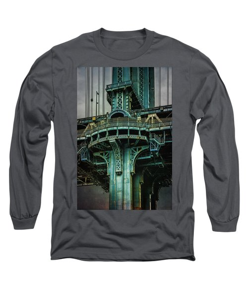 Long Sleeve T-Shirt featuring the photograph Manhattan Bridge Tower by Chris Lord