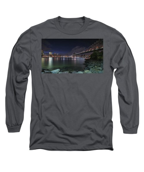Manhattan Bridge Twinkles At Night Long Sleeve T-Shirt