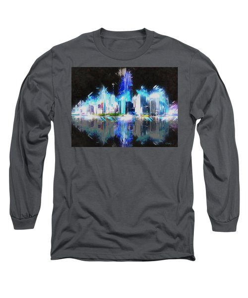 Long Sleeve T-Shirt featuring the painting Manhattan Downtown Lights by Kai Saarto