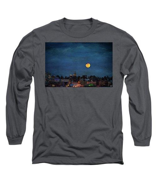 Manhattan Moonrise Long Sleeve T-Shirt by Chris Lord