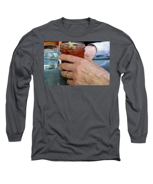 Mans Hand Holding Bloody Mary  Long Sleeve T-Shirt by Beth Wolff