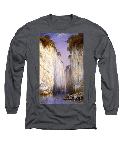 Marble Rocks - Nerbudda Jubbulpore Long Sleeve T-Shirt by Pg Reproductions
