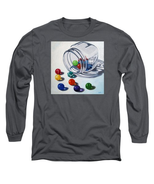 Marbles And Glass Jar Still Life Painting Long Sleeve T-Shirt