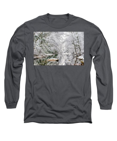 Long Sleeve T-Shirt featuring the photograph March Snow Along Cranberry River by Thomas R Fletcher