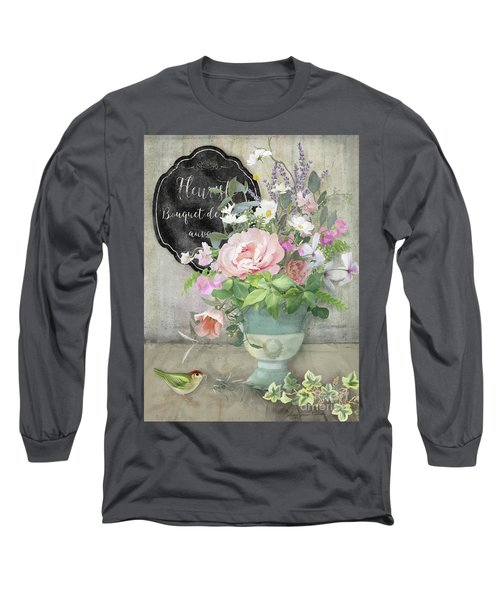 Long Sleeve T-Shirt featuring the painting Marche Aux Fleurs 3 Peony Tulips Sweet Peas Lavender And Bird by Audrey Jeanne Roberts