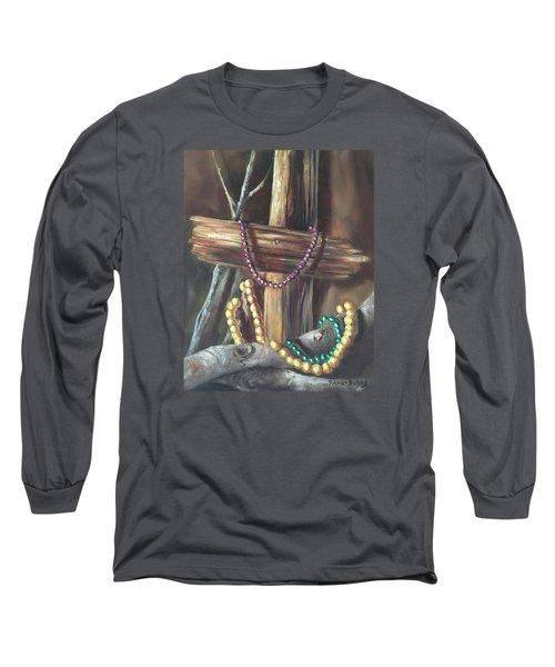 Long Sleeve T-Shirt featuring the painting Mardi Gras Beads And Hurricane Katrina by Randol Burns
