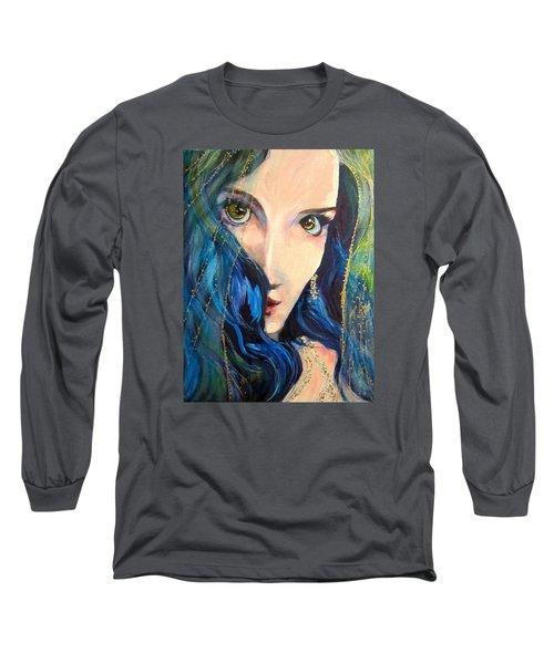 Mariah Blue Long Sleeve T-Shirt by Barbara O'Toole