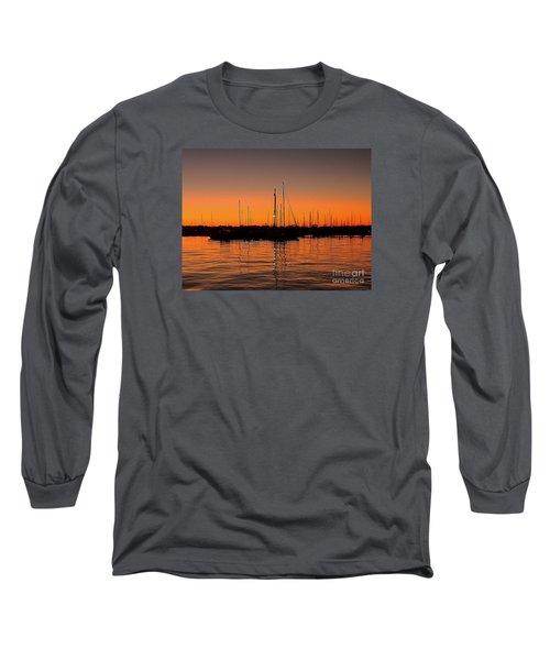 Marina Moonlight Masts Long Sleeve T-Shirt by Shelia Kempf