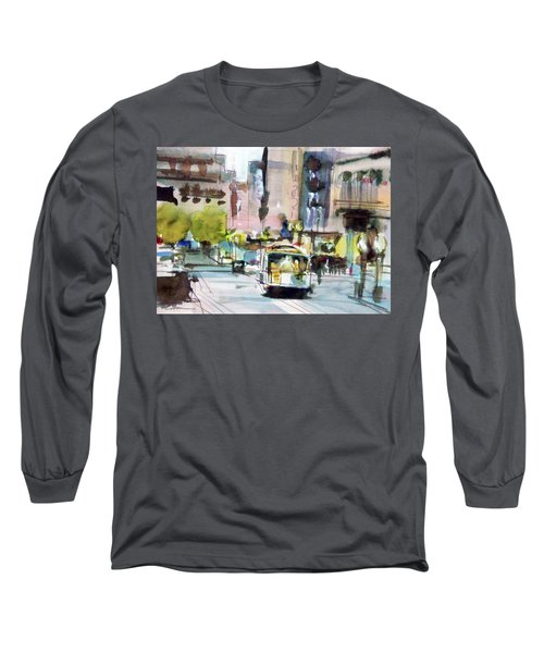 Long Sleeve T-Shirt featuring the painting Market Street by Ed Heaton