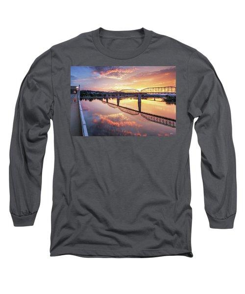 Market Street Jog At Sunrise Long Sleeve T-Shirt by Steven Llorca