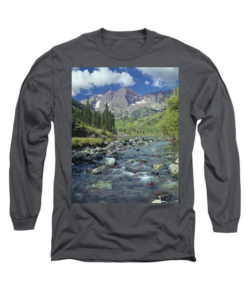 210404-maroon Bells And Creek  Long Sleeve T-Shirt