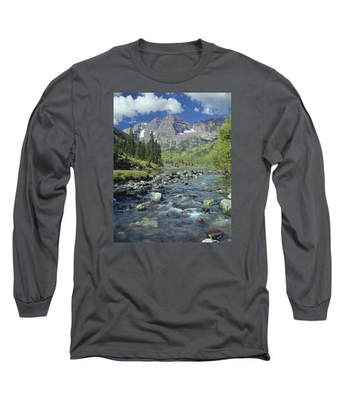 210404-maroon Bells And Creek  Long Sleeve T-Shirt