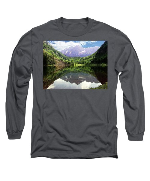 Long Sleeve T-Shirt featuring the photograph Maroon Bells  by Jerry Battle