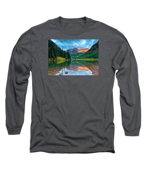Maroon Bells Sunrise Long Sleeve T-Shirt by John Vose