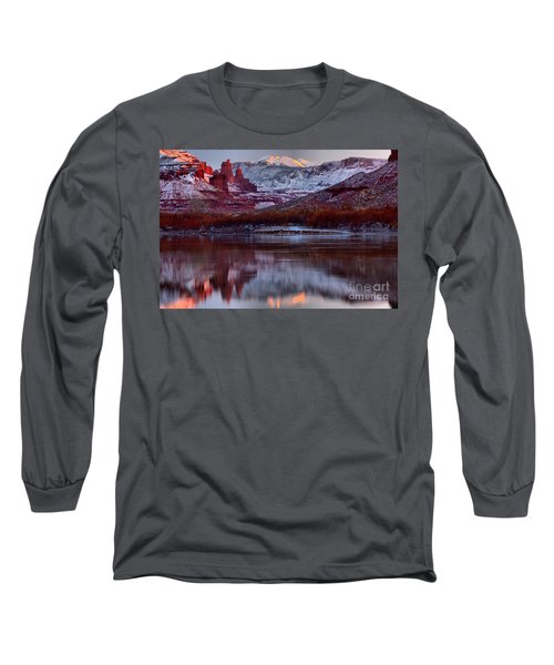 Long Sleeve T-Shirt featuring the photograph Maroon Fisher Towers by Adam Jewell