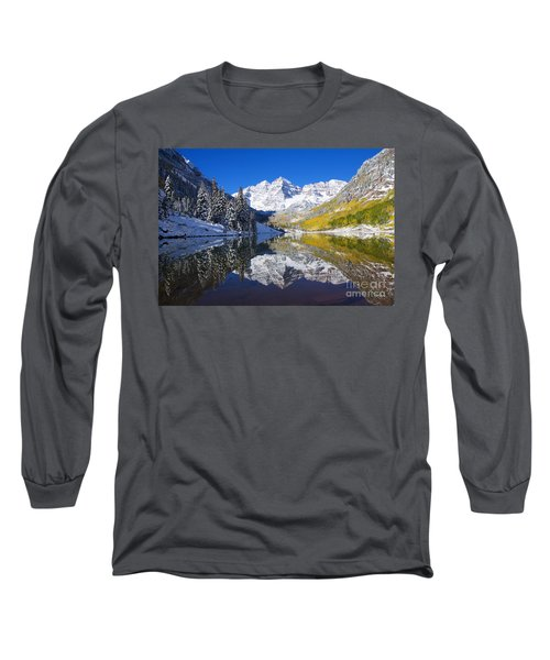 Maroon Lake And Bells 1 Long Sleeve T-Shirt by Ron Dahlquist - Printscapes