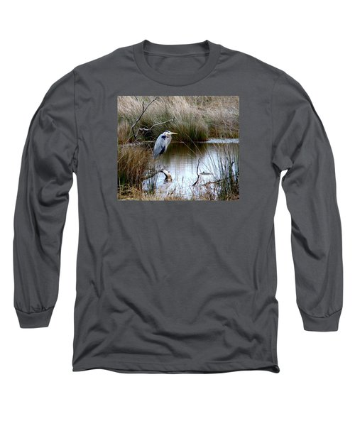 Marsh Pond Great Blue Heron Long Sleeve T-Shirt by Phyllis Beiser