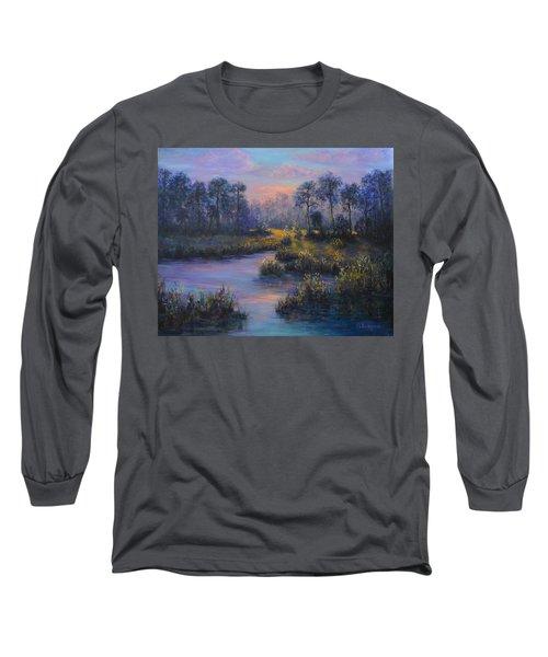 Marsh Sunset Nature Wetland Trees Print Of Panting Long Sleeve T-Shirt