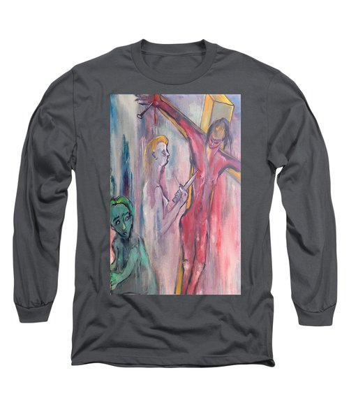Long Sleeve T-Shirt featuring the painting Martyrdom by Kenneth Agnello