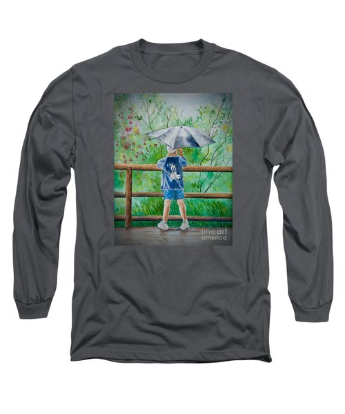 Long Sleeve T-Shirt featuring the painting Marcus' Umbrella by AnnaJo Vahle