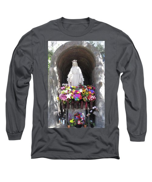 Mary At The Mission Long Sleeve T-Shirt by Mary Ellen Frazee