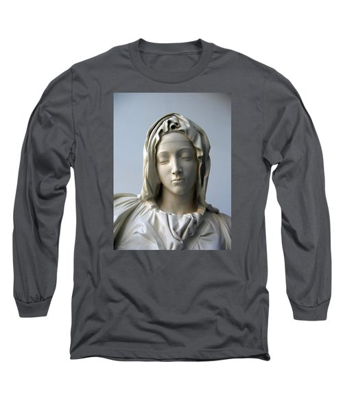 Long Sleeve T-Shirt featuring the sculpture Mary by Suhas Tavkar