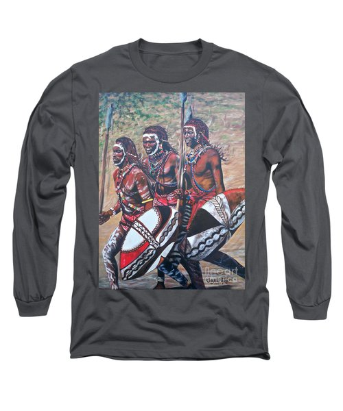 Long Sleeve T-Shirt featuring the painting Masaai Warriors by Sigrid Tune