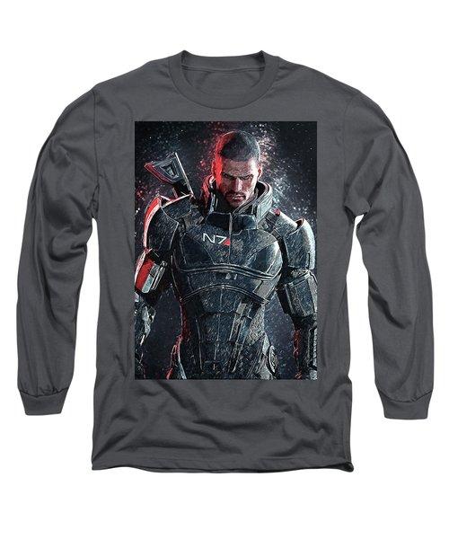 Long Sleeve T-Shirt featuring the digital art Mass Effect by Taylan Apukovska