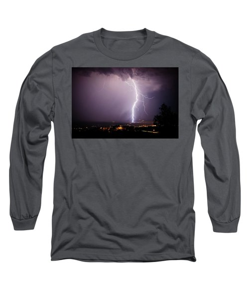 Long Sleeve T-Shirt featuring the photograph Massive Lightning Storm by Ron Chilston