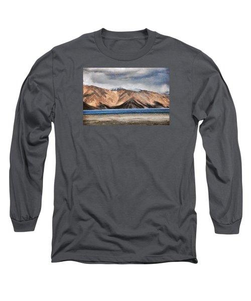 Massive Mountains And A Beautiful Lake Long Sleeve T-Shirt by Ashish Agarwal