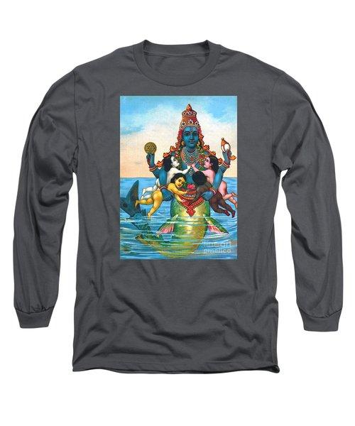 Matsya - Avatar Of Vishnu Long Sleeve T-Shirt by Pg Reproductions