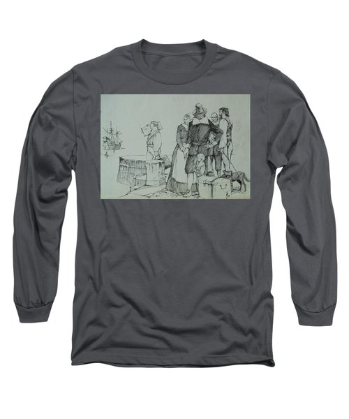 Long Sleeve T-Shirt featuring the drawing Mayflower Departure. by Mike Jeffries