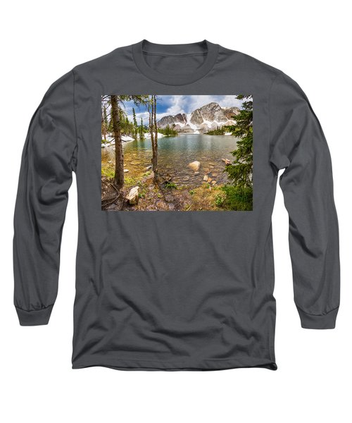 Medicine Bow Snowy Mountain Range Lake View Long Sleeve T-Shirt
