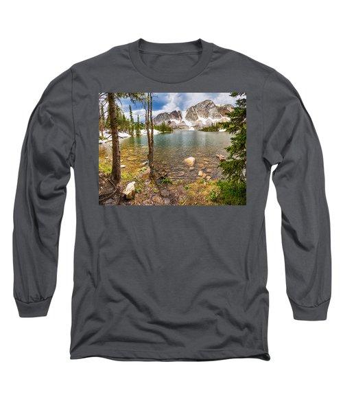 Medicine Bow Snowy Mountain Range Lake View Long Sleeve T-Shirt