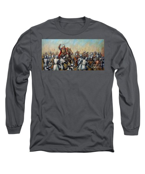 Medieval Battle Long Sleeve T-Shirt by Arturas Slapsys